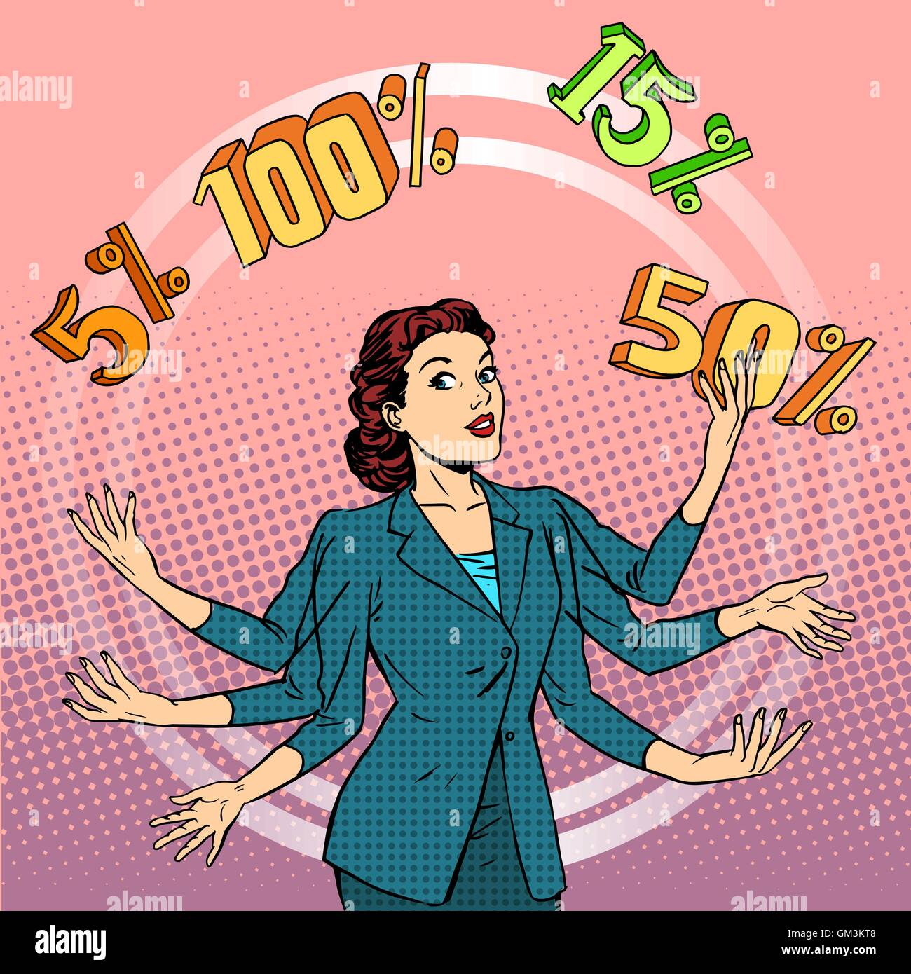 Promotions discounts sale businesswoman juggling cent - Stock Vector