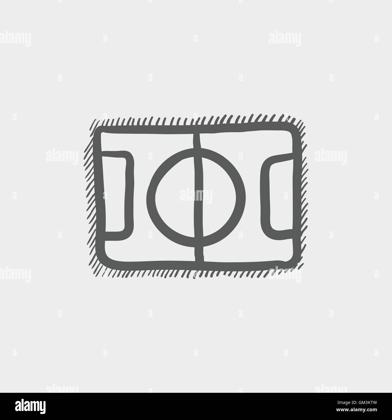 Basketball court sketch icon - Stock Image