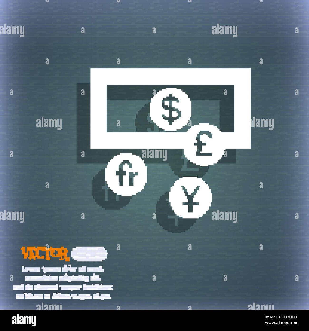 Currencies Of The World Icon Symbol On The Blue Green Abstract Stock