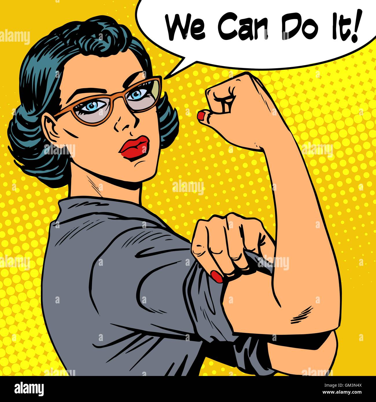 Woman with glasses we can do it the power of feminism - Stock Image