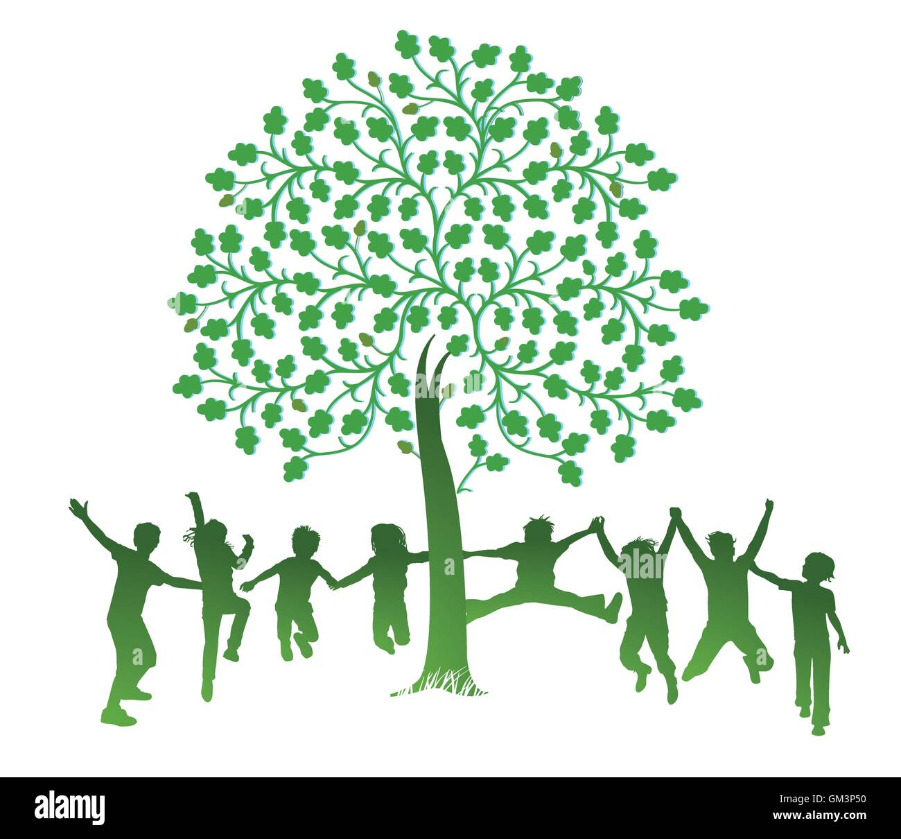 Children jump around a tree - Stock Vector