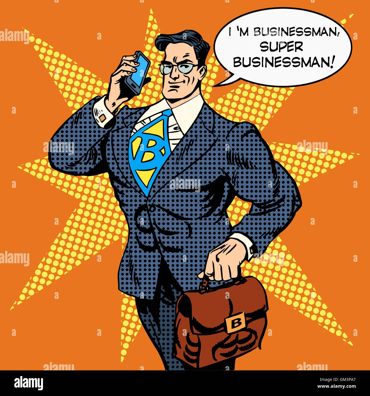 super businessman answering phone call - Stock Vector