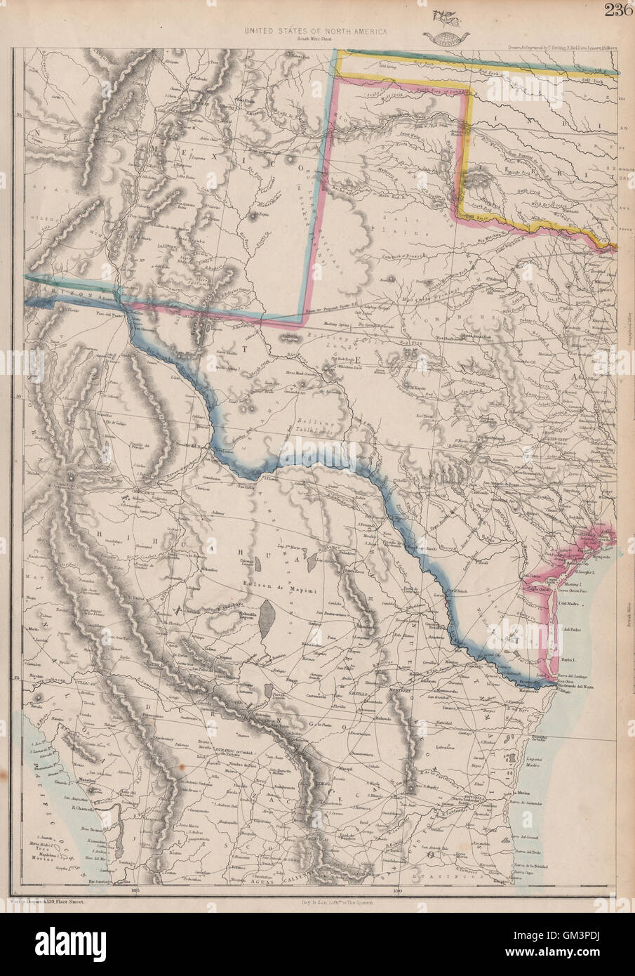USA SOUTH. Texas New Mexico. Gadsden purchase shown as Arizona.ETTLING, 1863 map - Stock Image