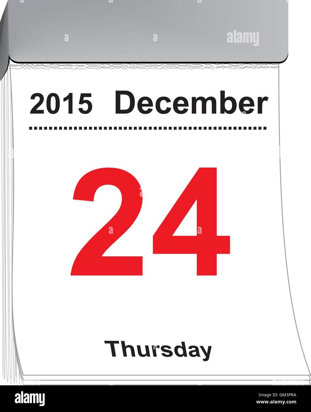 Tear off calendar December 24, 2015 - Stock Image