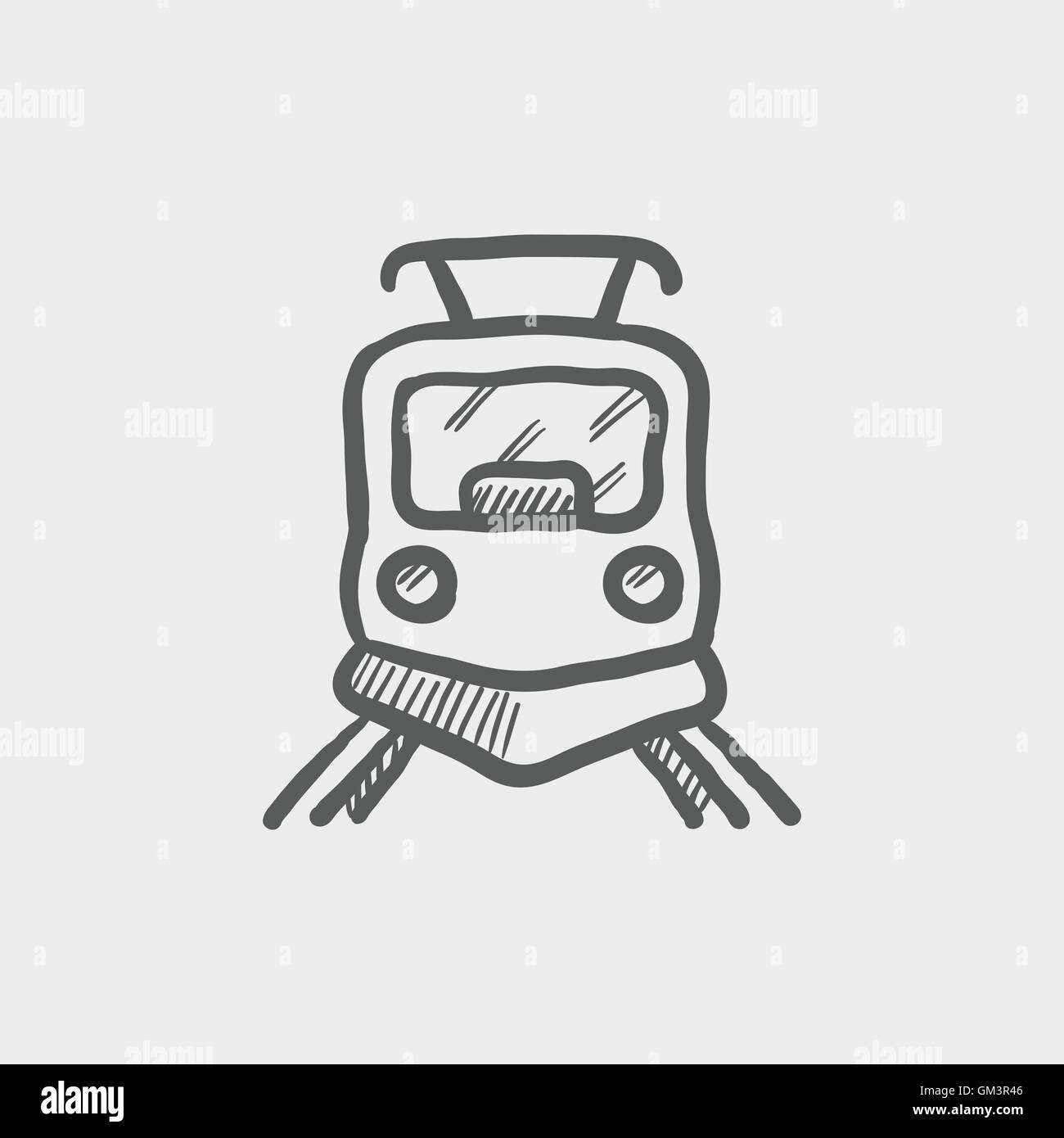 Front view of train sketch icon Stock Vector Art