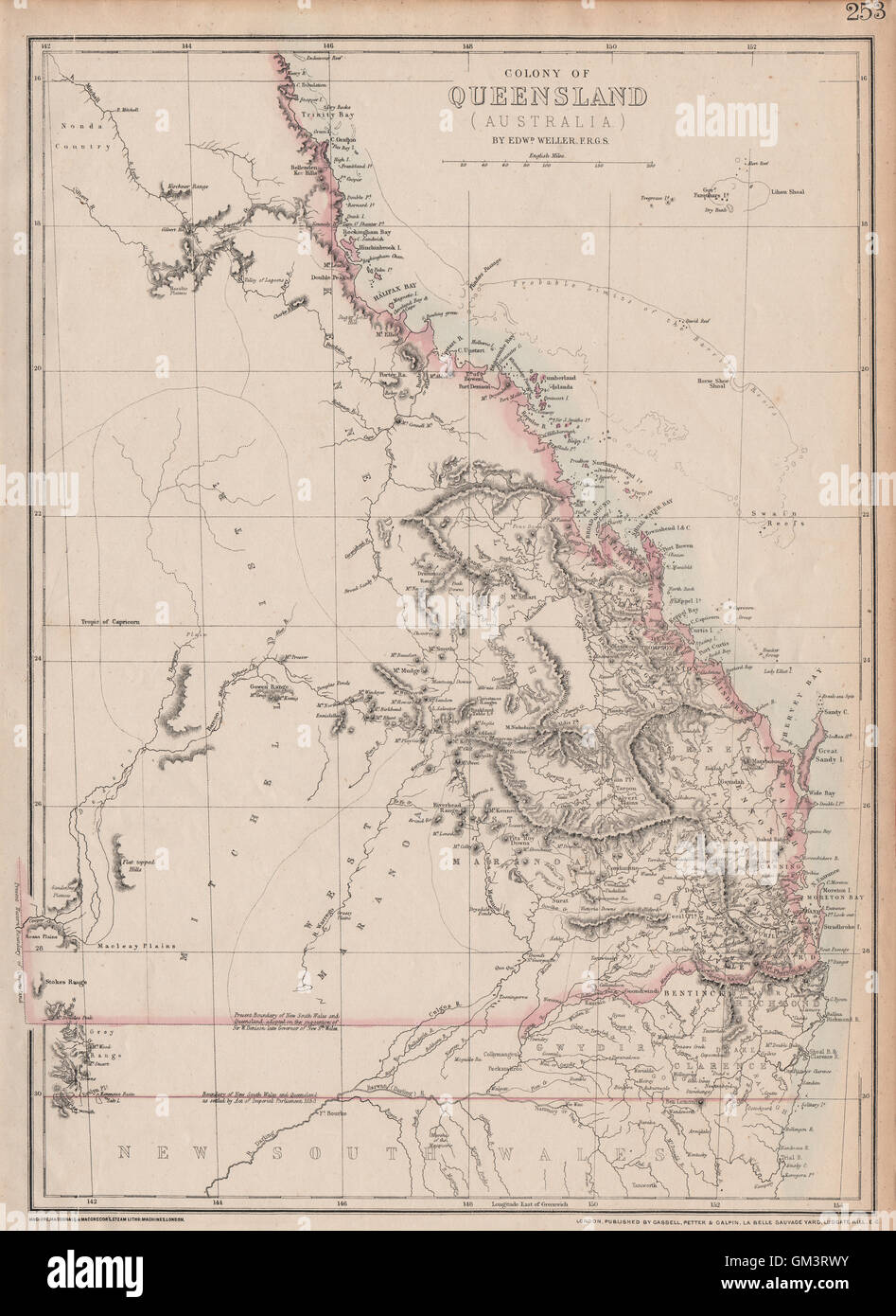 Australia Map 1850.Colony Of Queensland Australia Current 1850 Nsw Border Stock