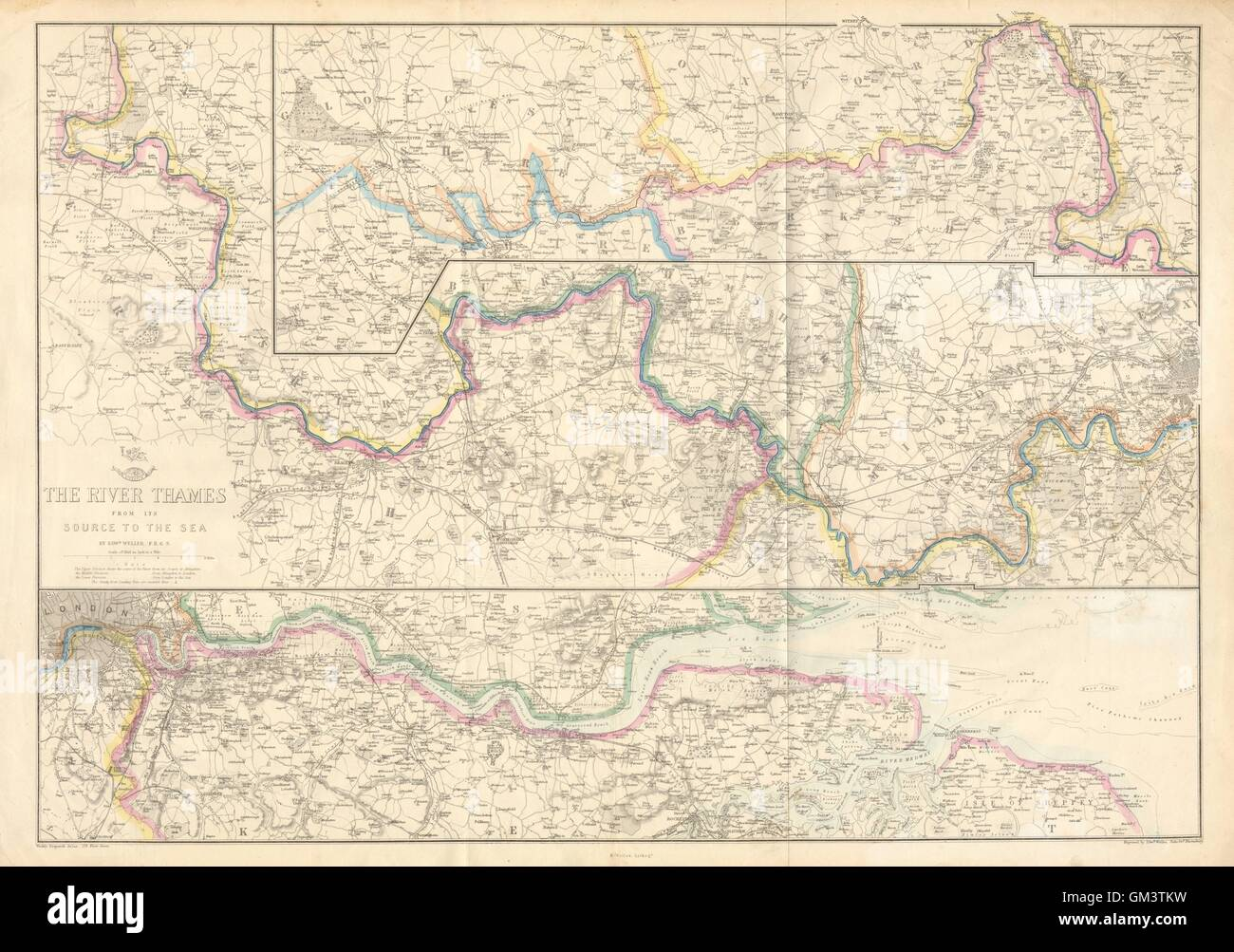 'THE RIVER THAMES FROM ITS SOURCE TO THE SEA'. Thames Valley. WELLER, c1863 map - Stock Image