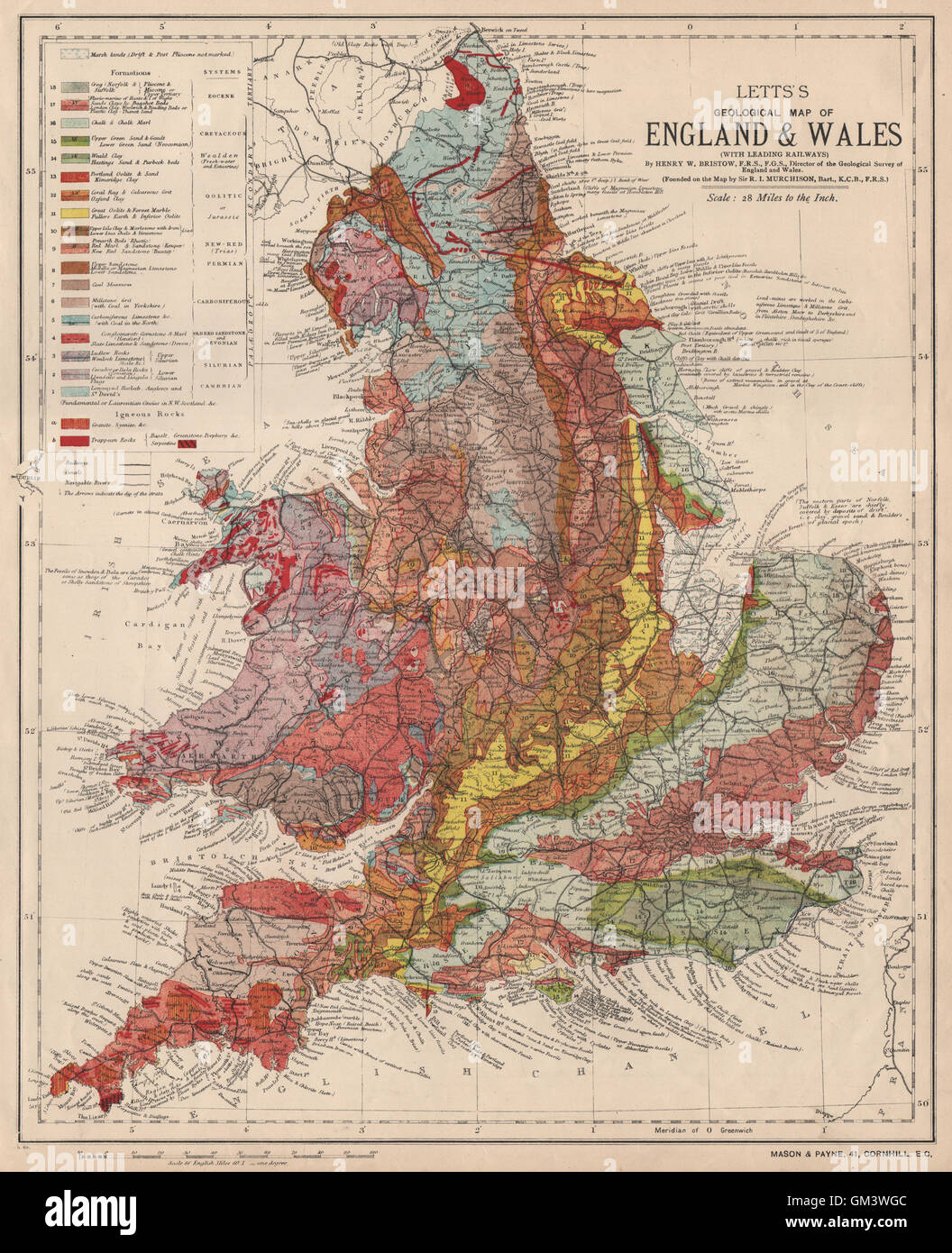 Map Of England To Colour.England Wales Colour Geological Map Letts 1889 Stock Photo