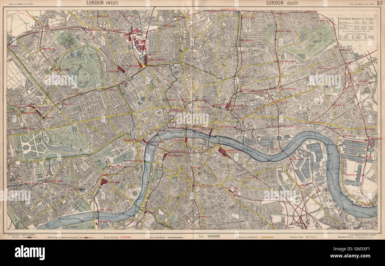 London City Bus Map.London Town City Plan Underground Railways Stations Bus Routes