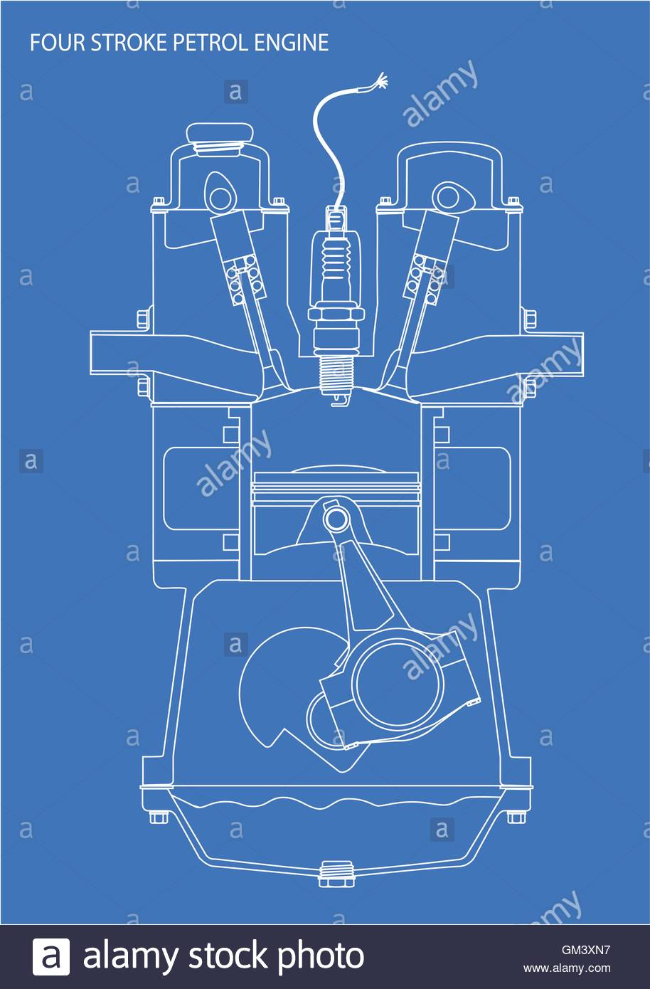 Engine line drawing blueprint stock vector art illustration engine line drawing blueprint malvernweather Images
