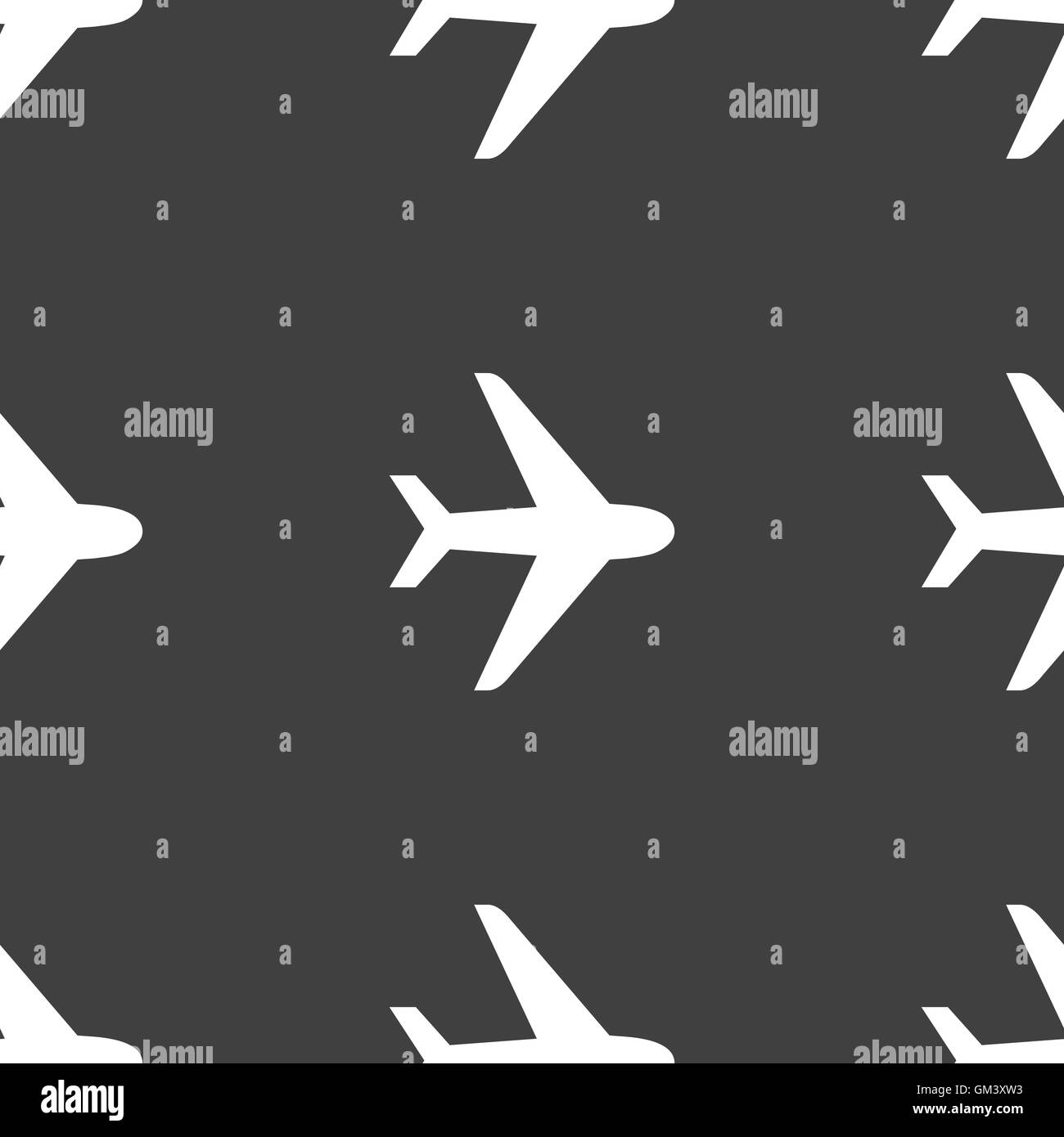 Plane icon sign. Seamless pattern on a gray background. Vector - Stock Image