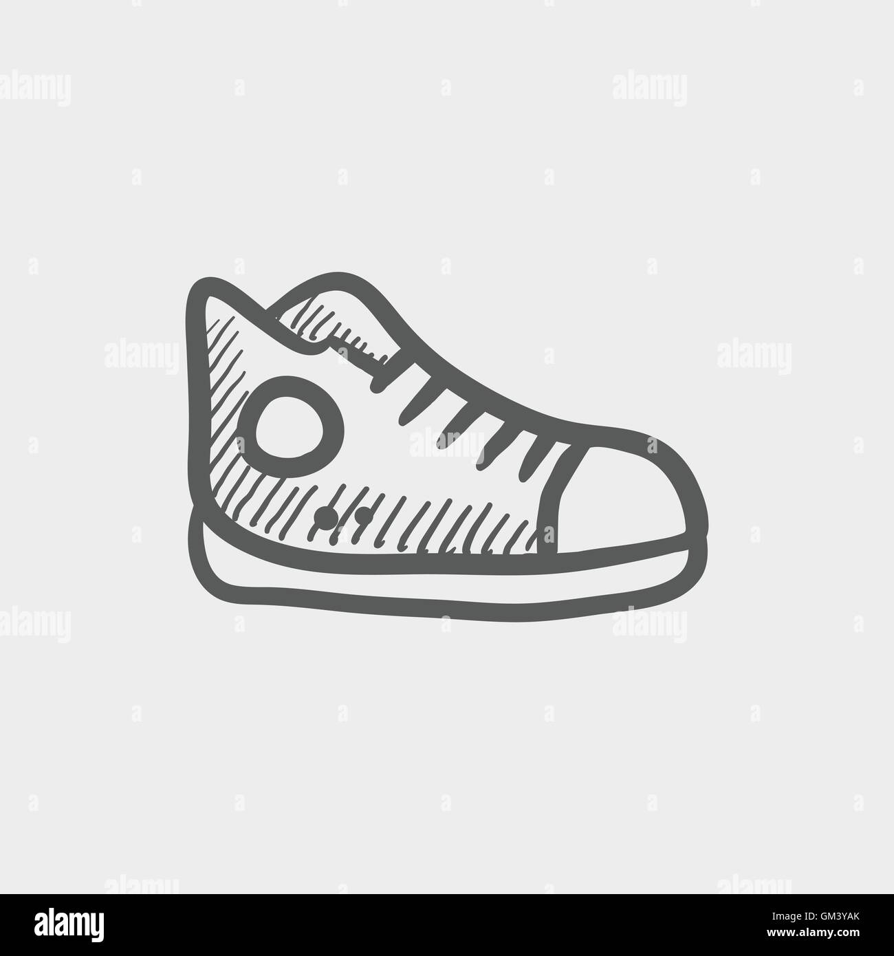 Hi-cut rubber shoes sketch icon - Stock Image