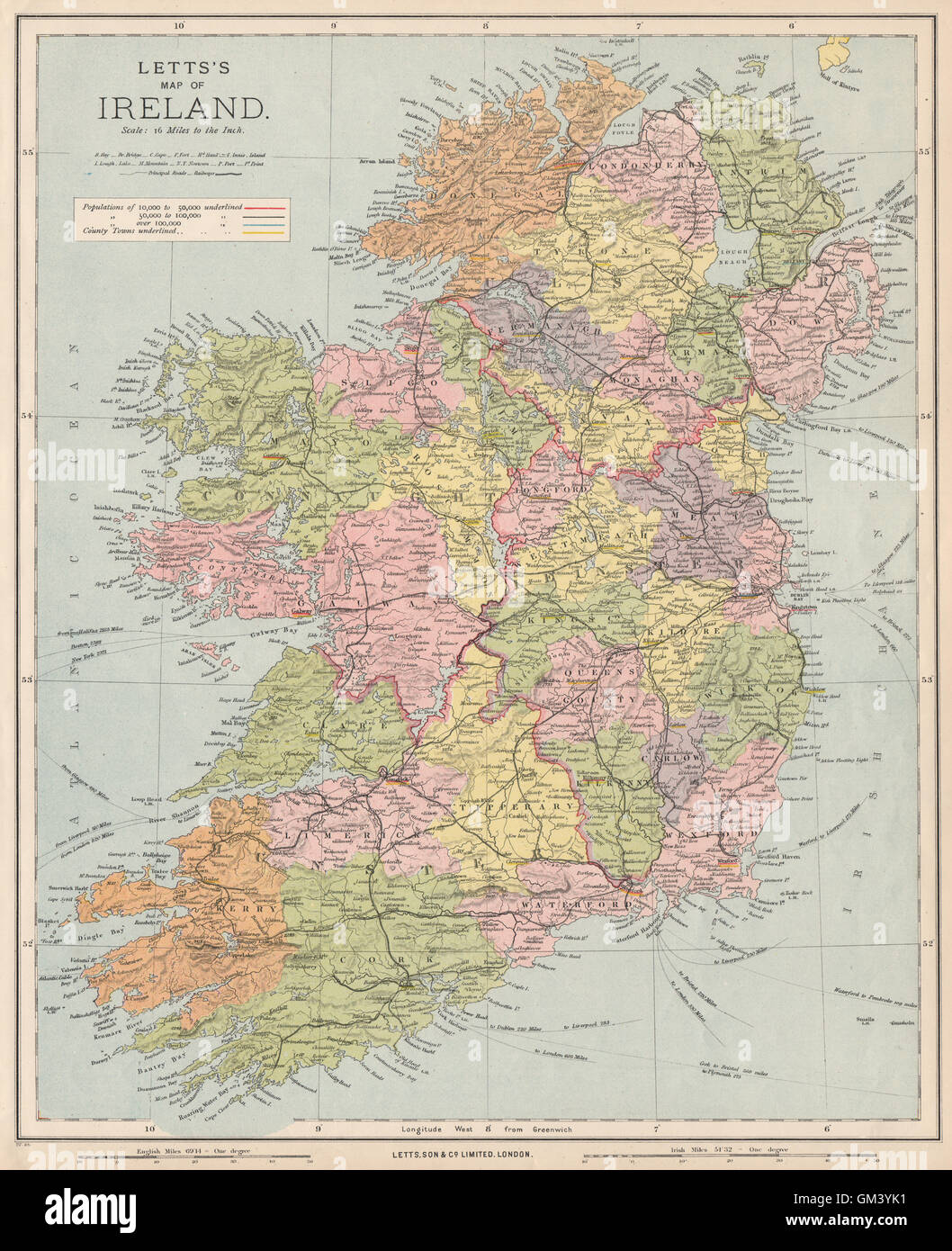 Map Of Ireland With Roads.Ireland Showing Roads Railways Counties Provinces Letts 1889