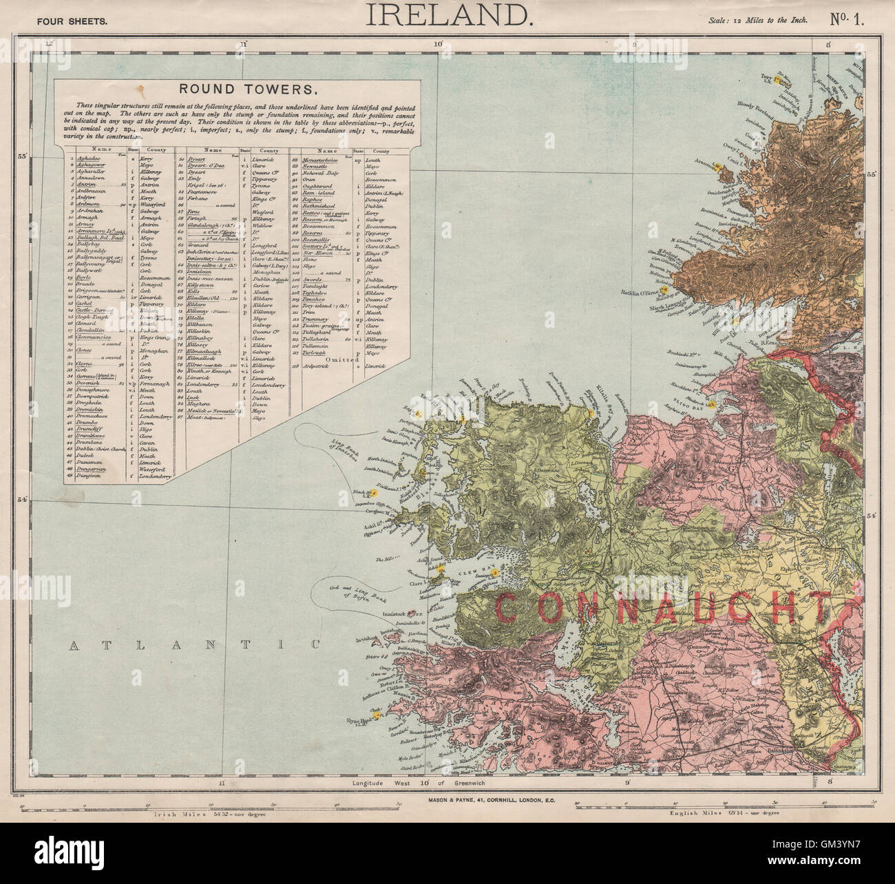 Lighthouses In Ireland Map.Nw Ireland Lighthouses Cod Ling Fishing Banks Connaught Letts