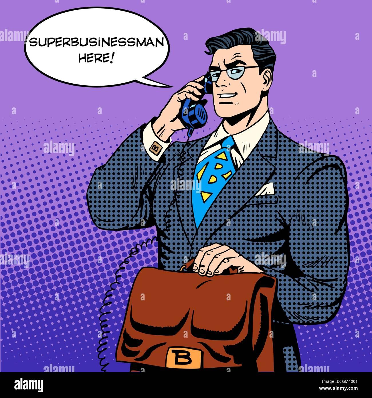 Super businessman hero talking phone success finance - Stock Vector