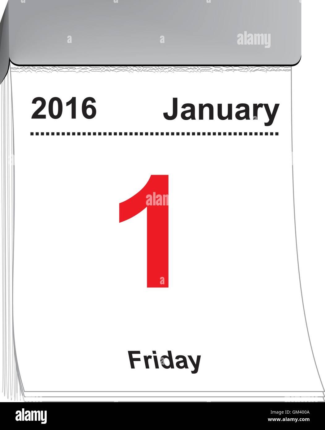 tear off calendar January 1, 2016 - Stock Image