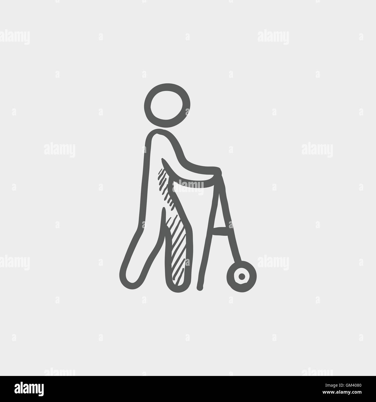 Disabled Person With Walking Sketch Icon Stock Vector Art