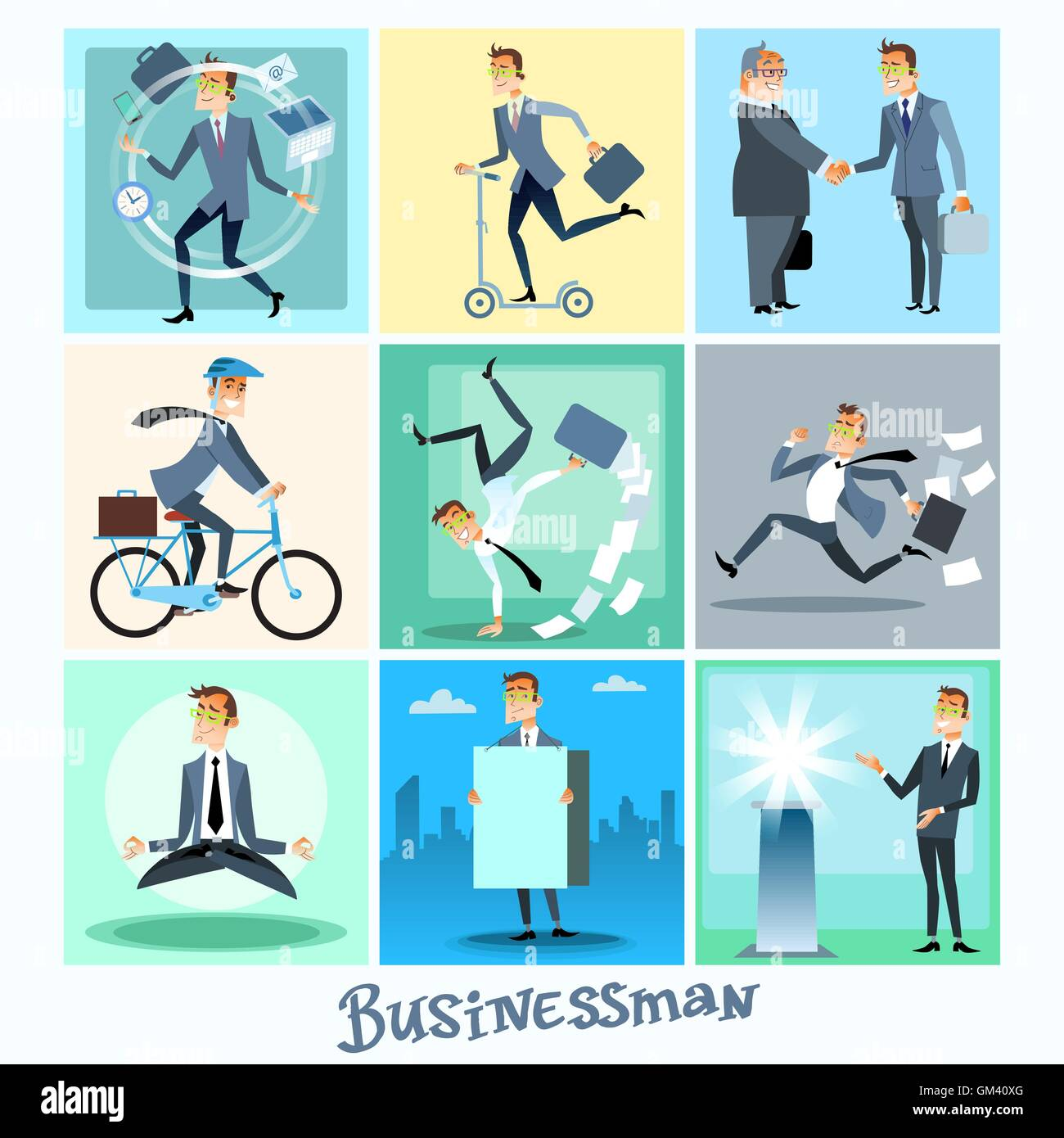 Set businessman collection business situations - Stock Vector