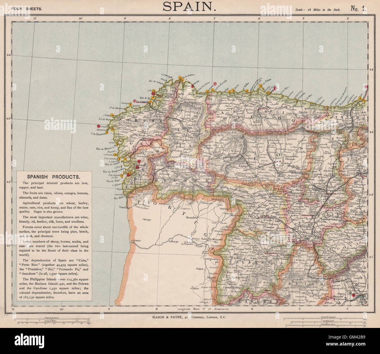Map Of North West Spain.Northwest Spain Railways Lighthouses Galicia Leon Asturias Letts