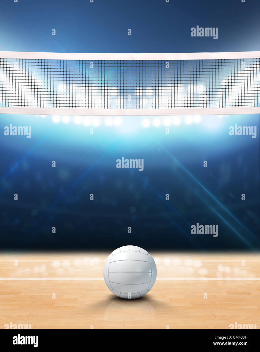 A 3D rendering of an indoor volleyball court with a net and ball on ...