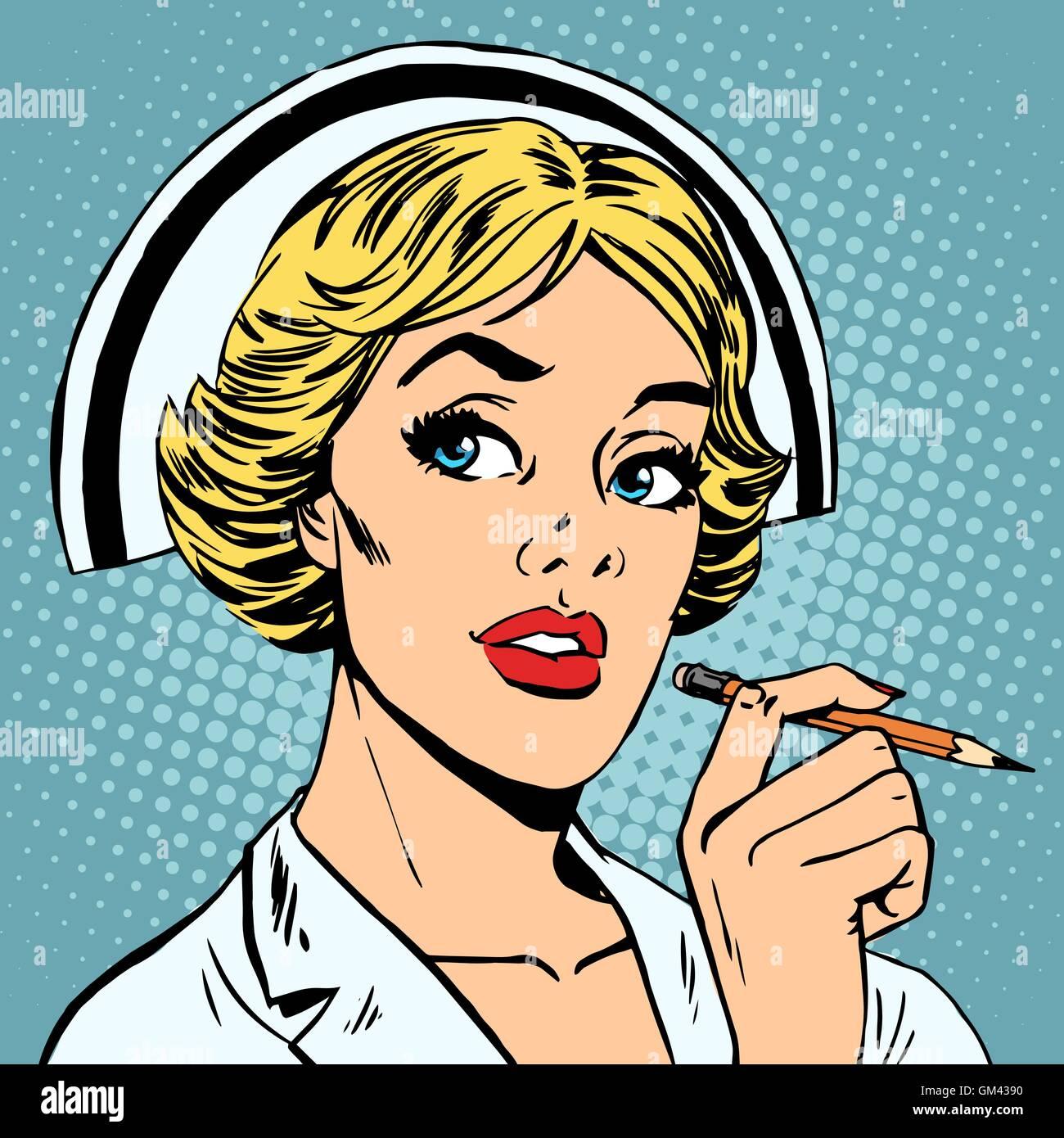 nurse writes diagnosis - Stock Image