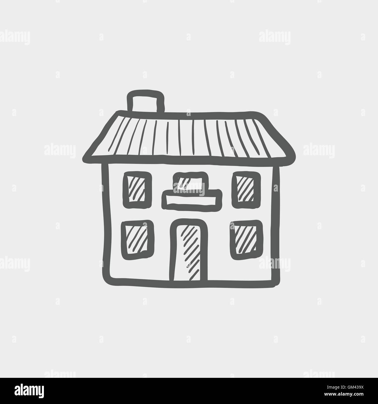 Real estate house sketch icon - Stock Vector
