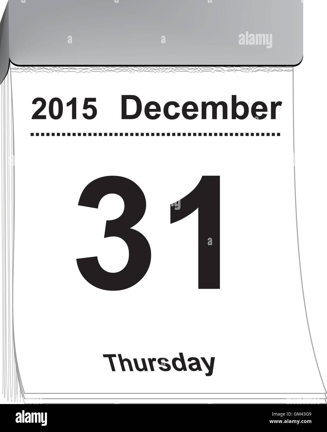 tear off calendar December 31, 2015 - Stock Image