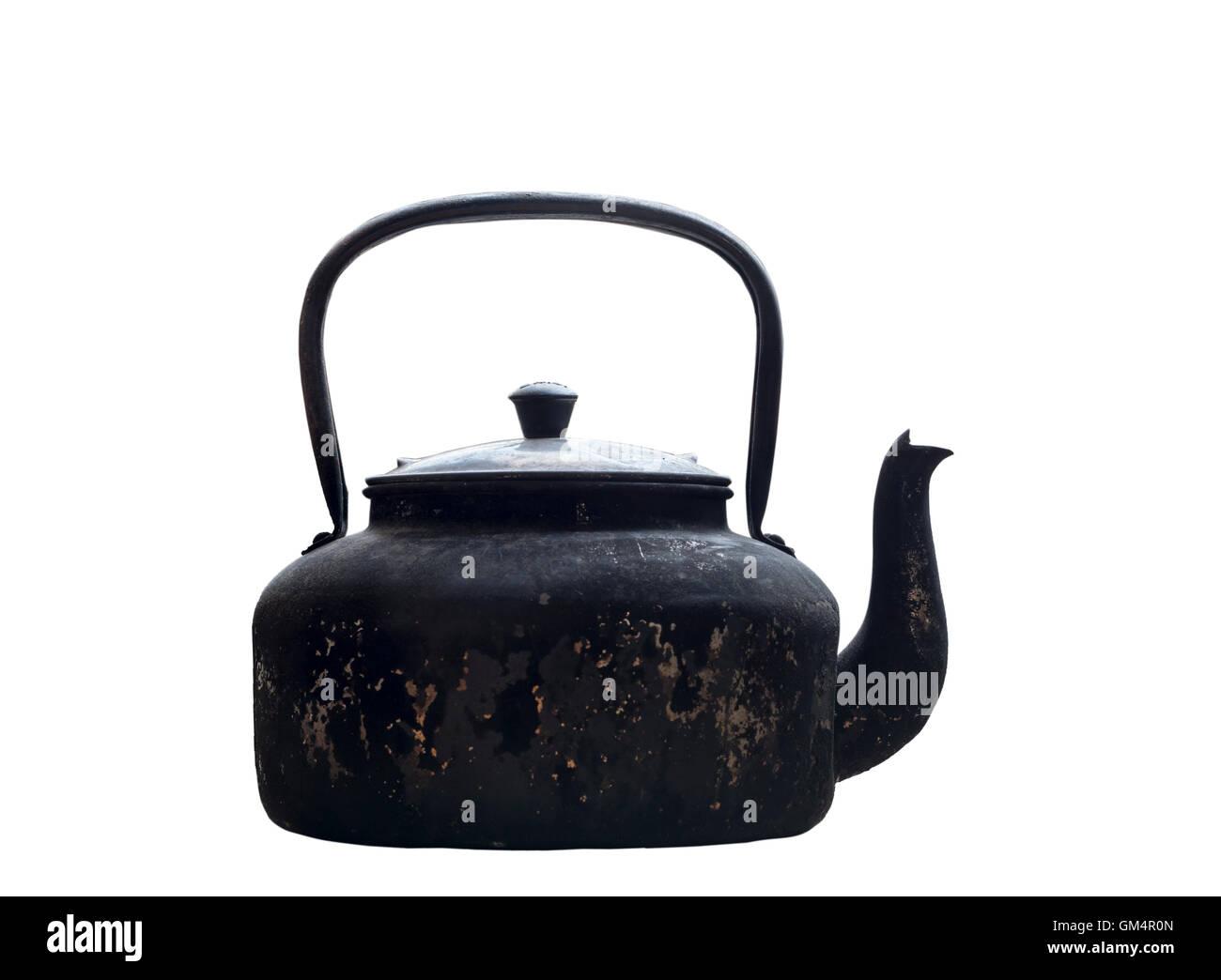 old aluminium kettle on white background - Stock Image