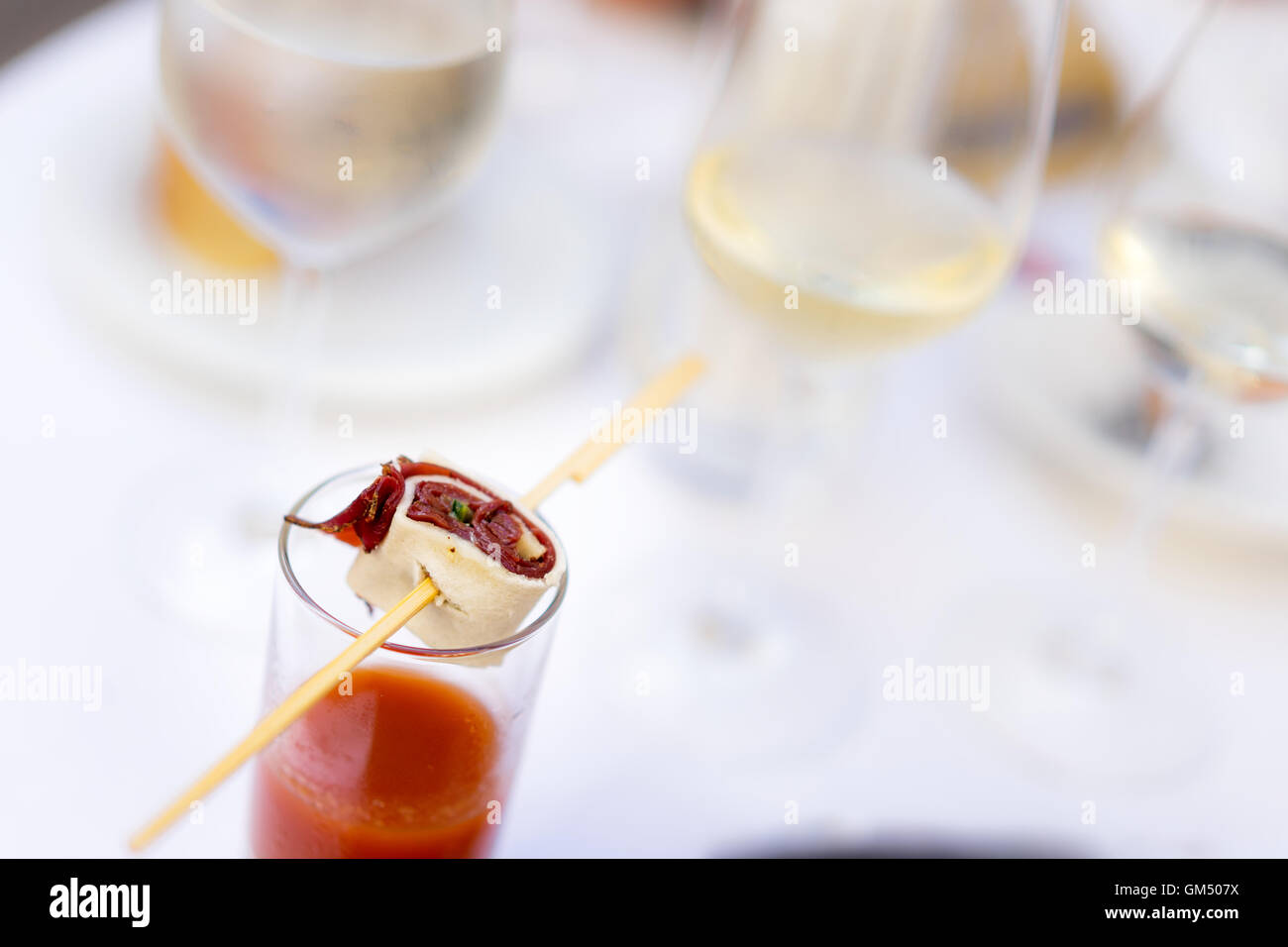 Appetizer with Styrian Gazpacho with smoked Beef at the Long Table - Lange Tafel der Genusshauptstadt Graz - Stock Image