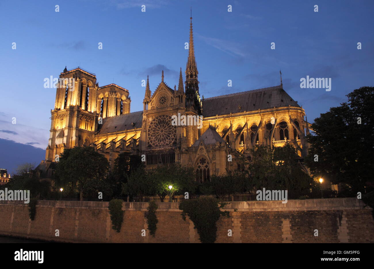 Notre Dame Cathedral at sunset. Paris, France - Stock Image