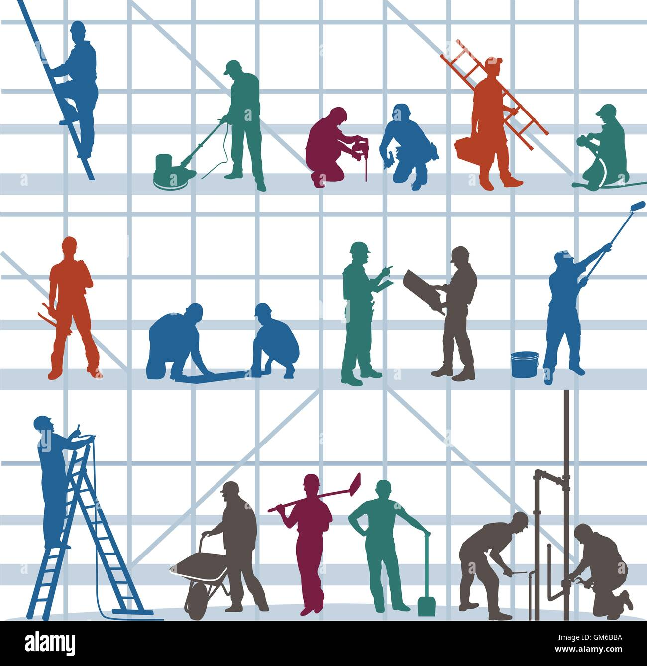 Construction workers and craftsmen - Stock Vector