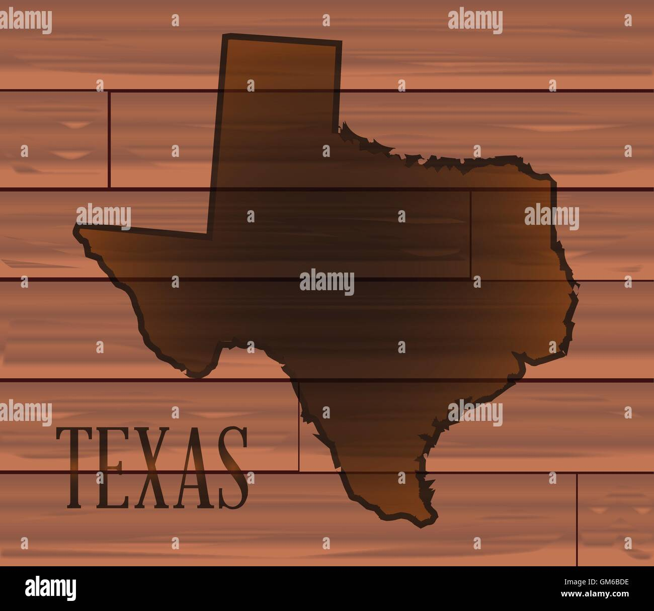 Texas Branded On Wood - Stock Image