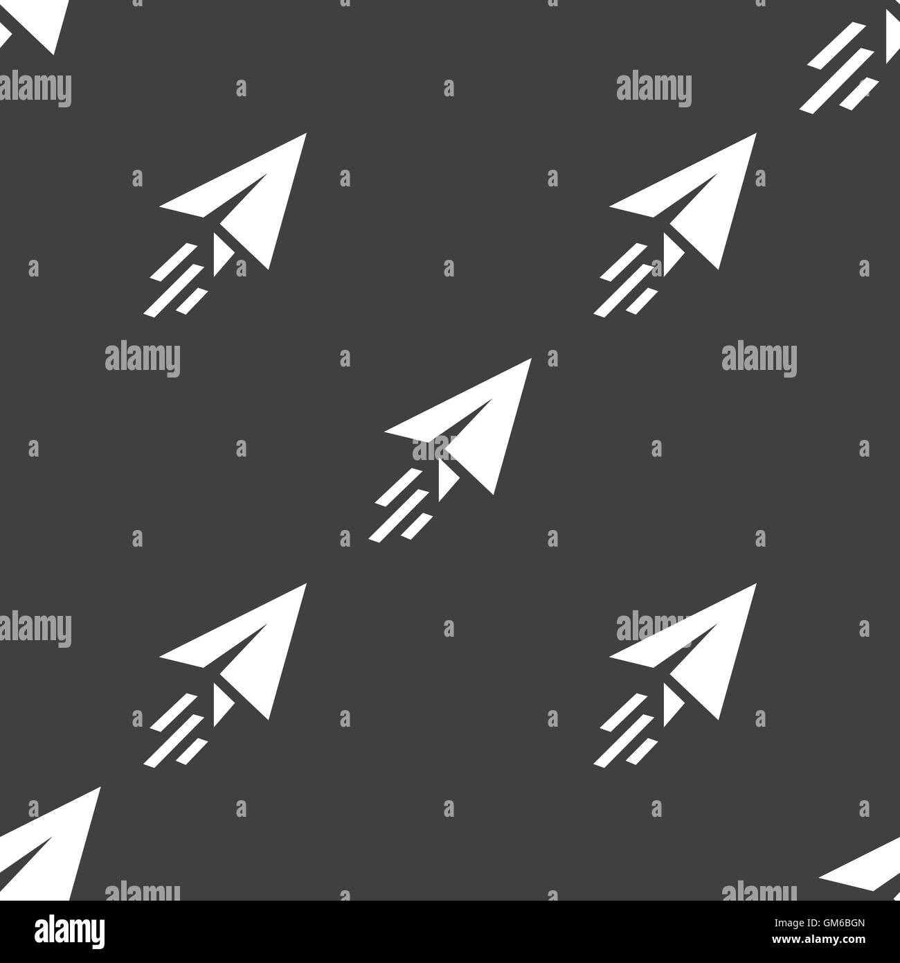 Paper airplane icon sign. Seamless pattern on a gray background. Vector - Stock Image