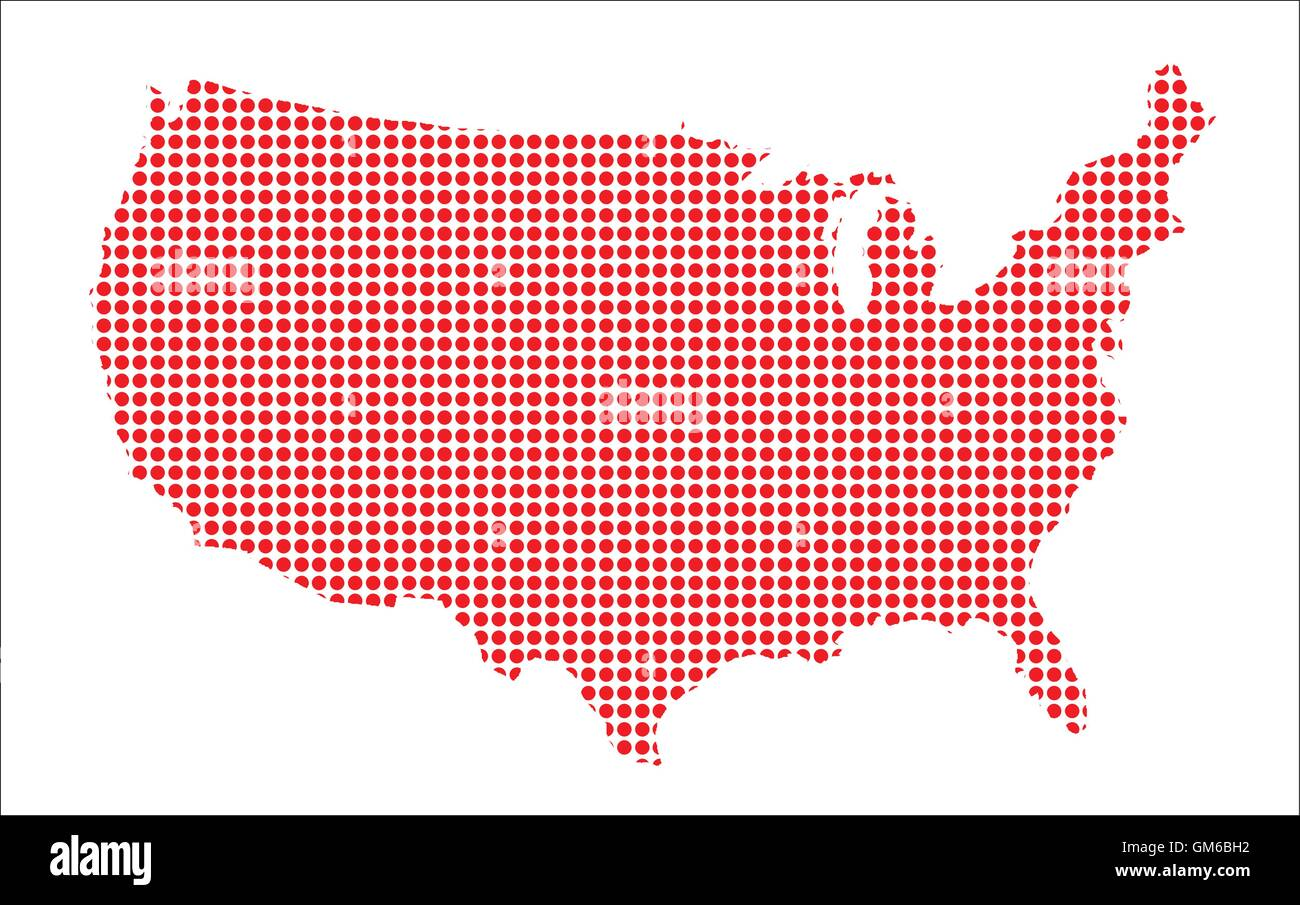 Red Dot Map of The U.S.of A. - Stock Vector