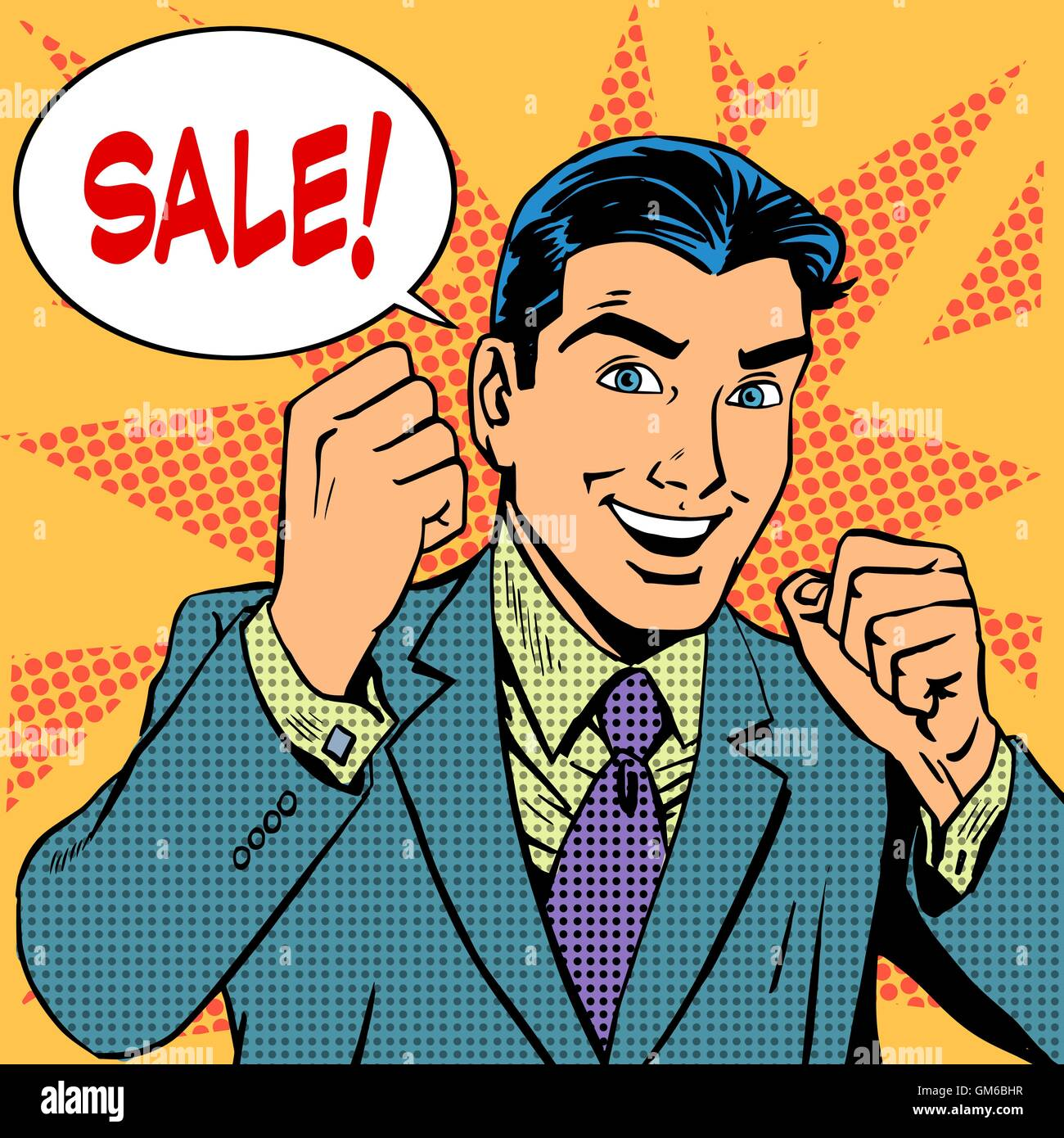 Male businessman sale sales discount store shopping - Stock Image