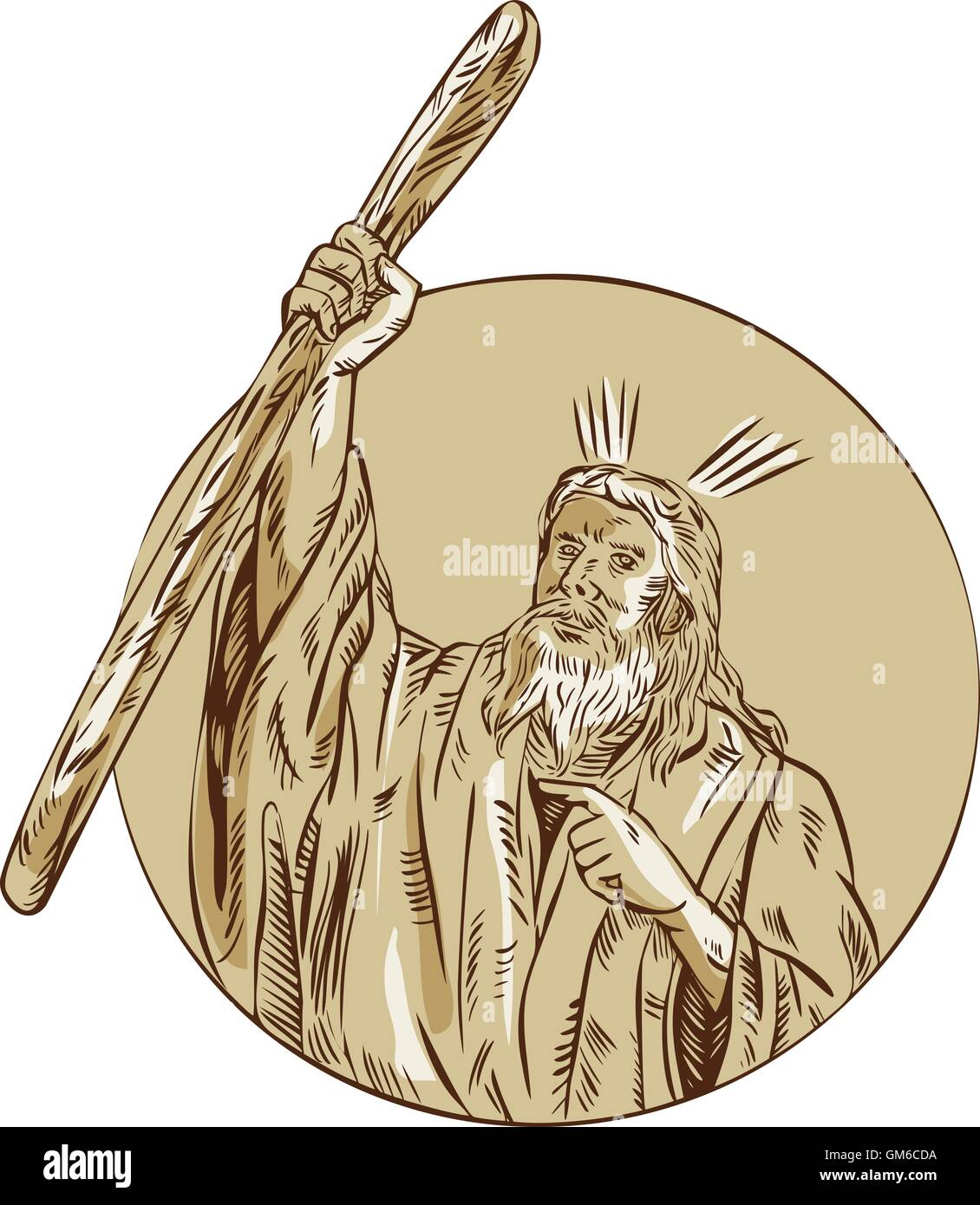 Moses Raising Staff Circle Etching - Stock Vector