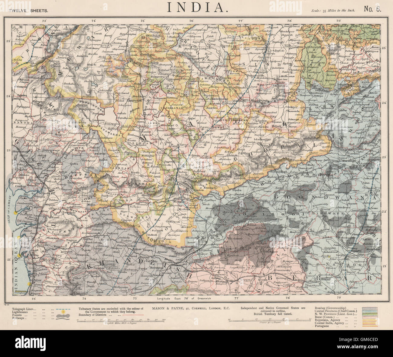 Goondwana Bhopal Sduk 1844 Map India.bundelkhand To Khandeish Berar.gujerat Art Prints Art