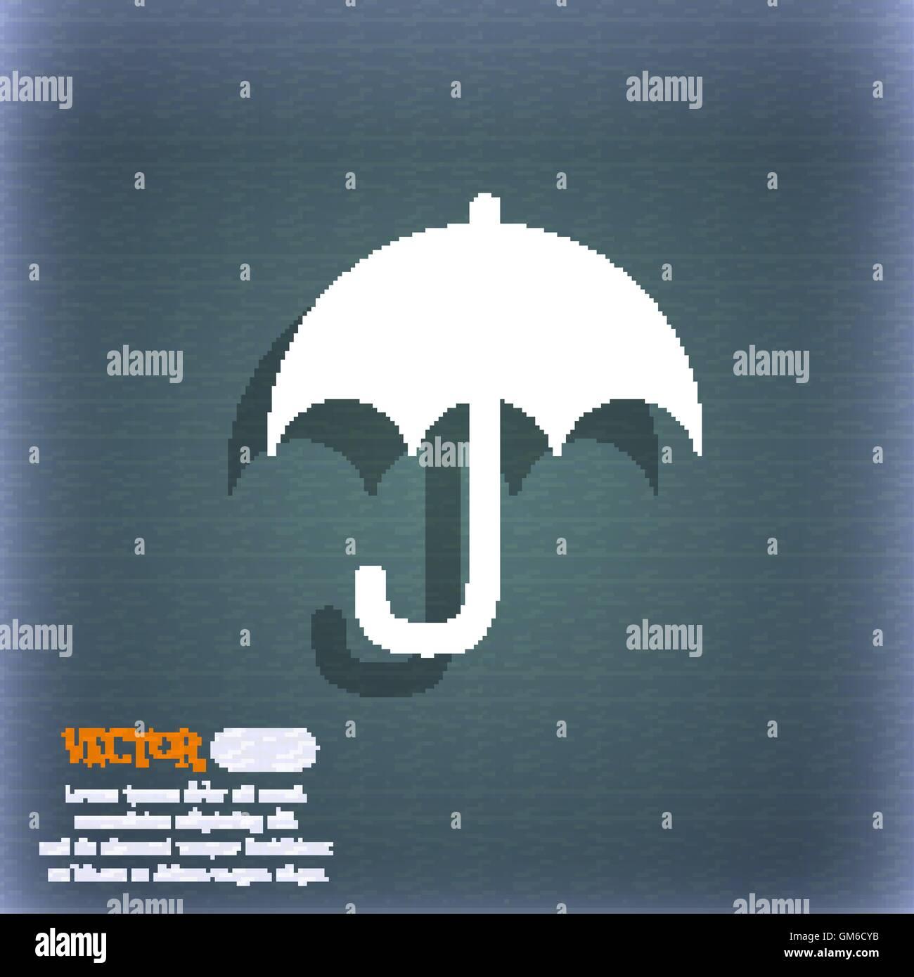 Umbrella Icon Symbol On Blue Green Stock Photos Umbrella Icon