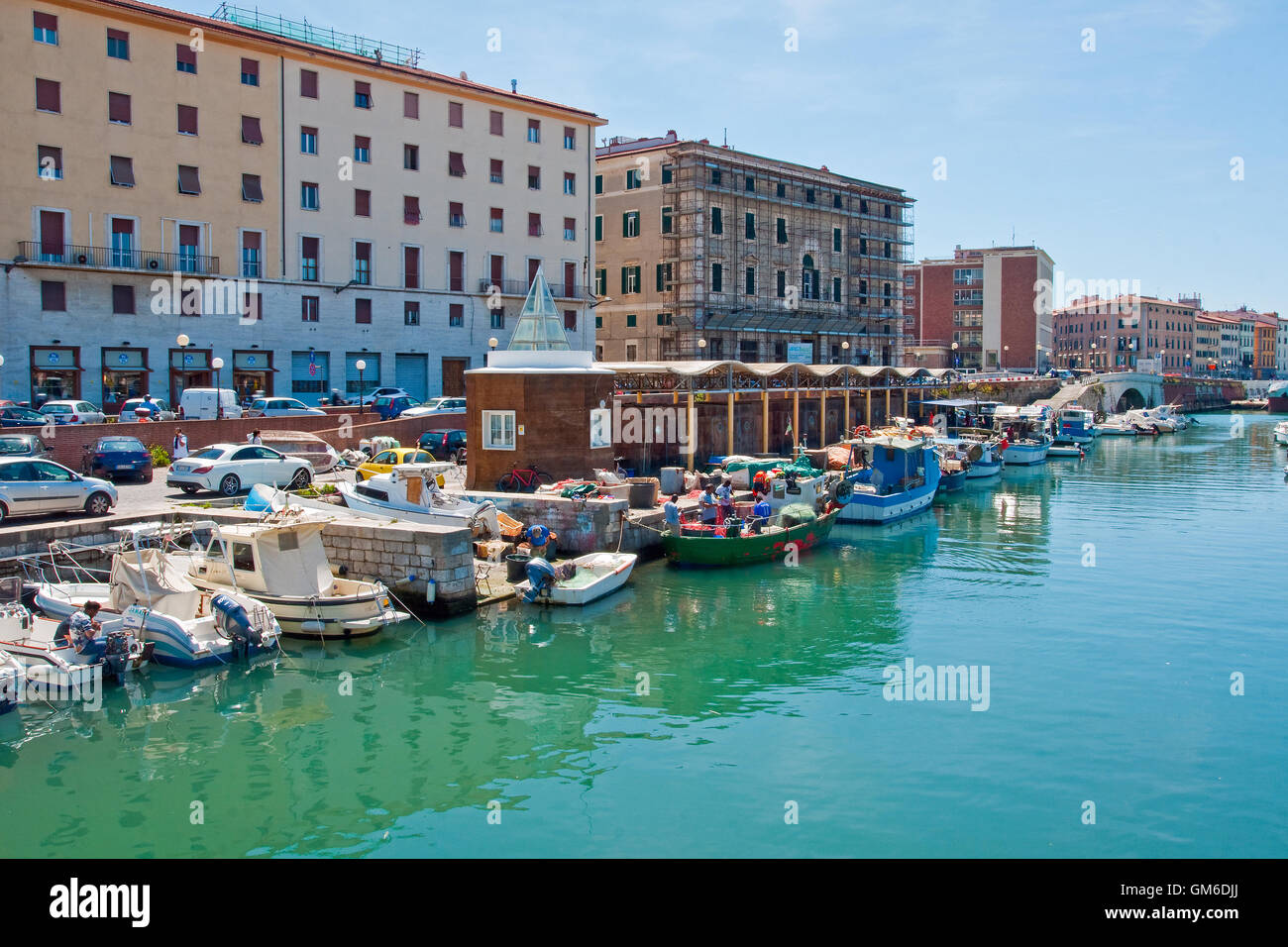 Inner Harbour, Port of Livorno, Italy - Stock Image