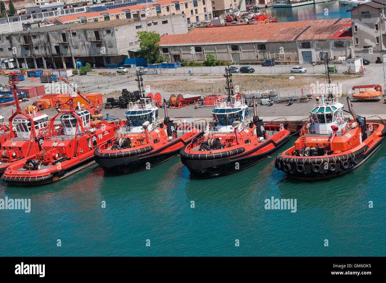 Harbour tugs, Port of Genoa, Italy - Stock Image