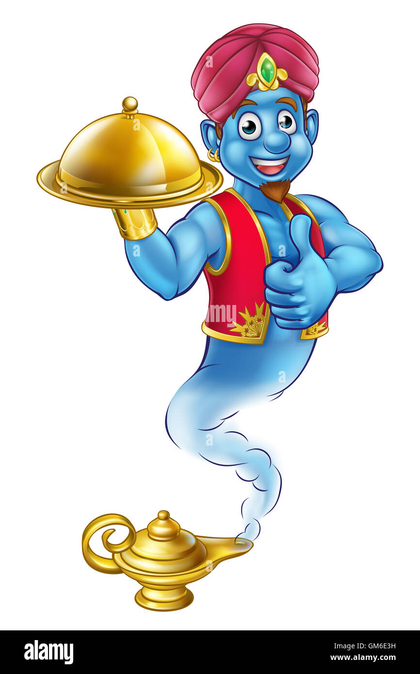 The Story Of Aladdin Stock Photos Books Aladin A Cartoon Genie Like In Coming Out Magic Lamp And