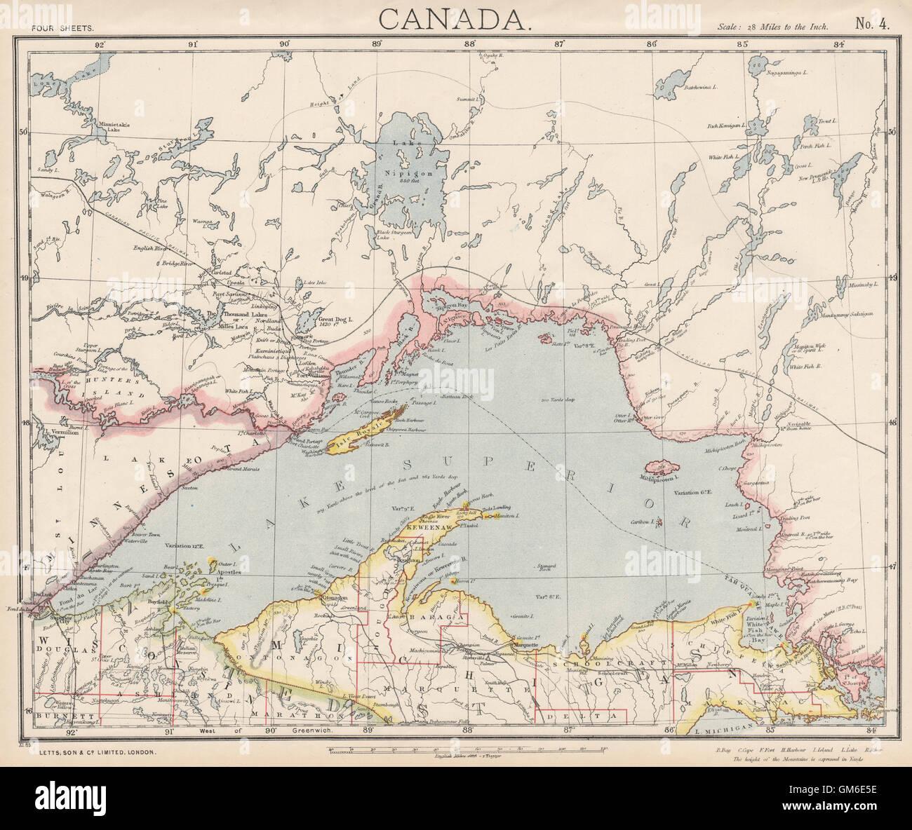 LAKE SUPERIOR. Canada Ontario Michigan. Lighthouses & Railroads ...