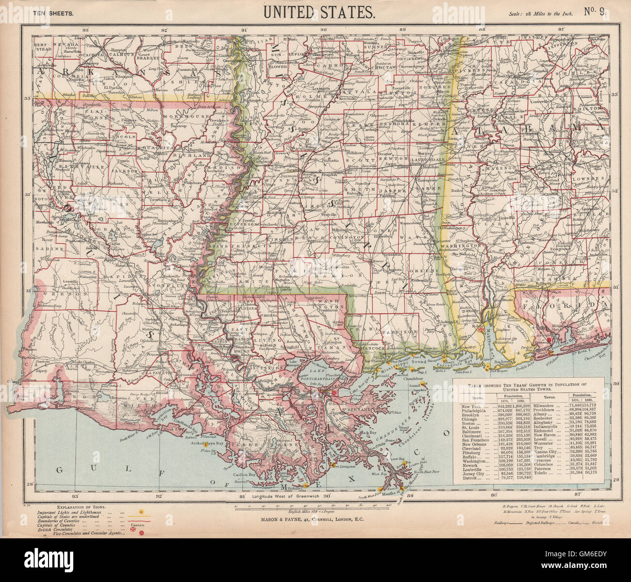 US GULF COAST Louisiana Mississippi Alabama Railroads Lighthouses