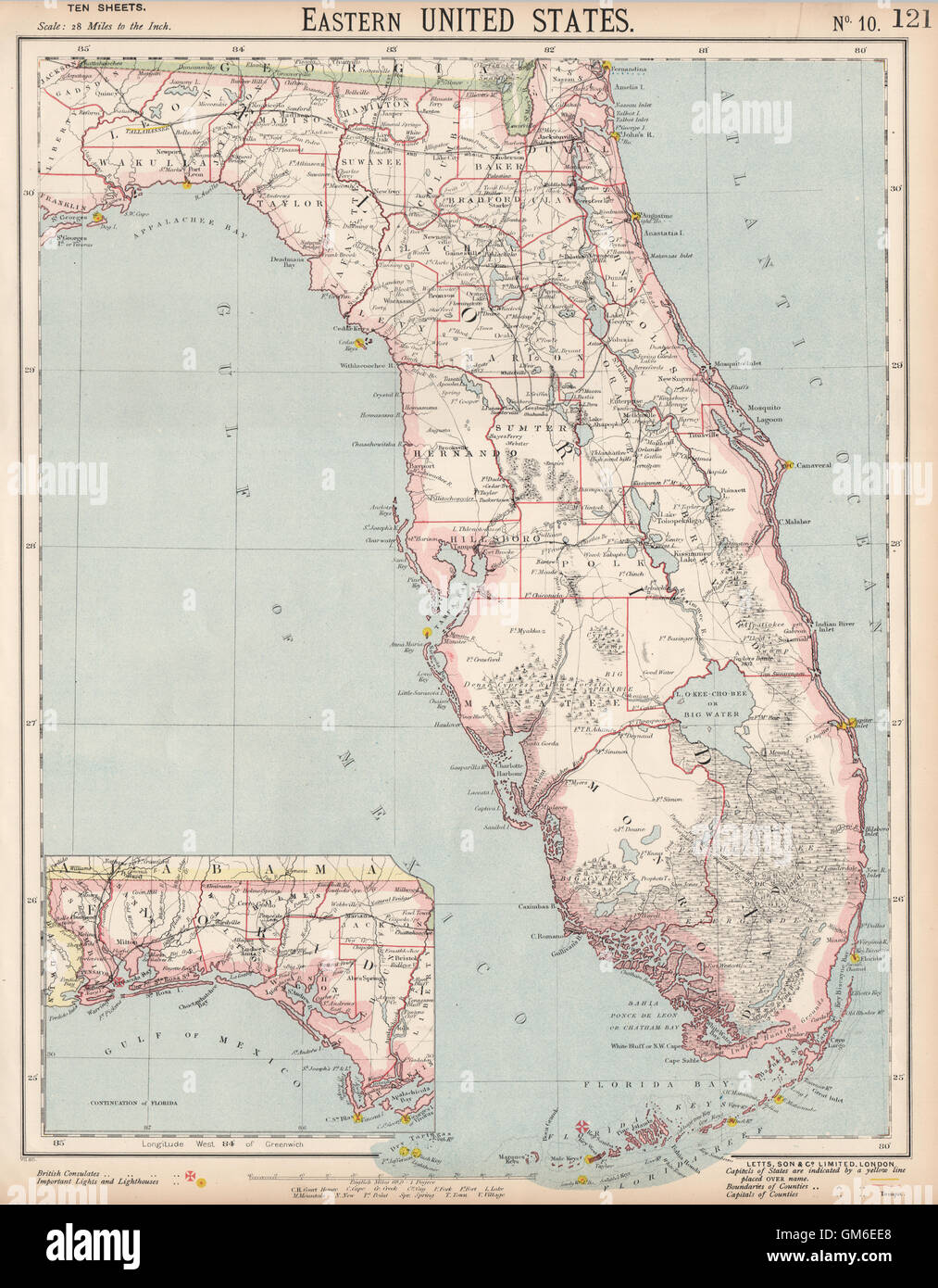 Florida Lighthouses Map.Florida Showing Railroads Lighthouses Forts Miami Tampa Letts
