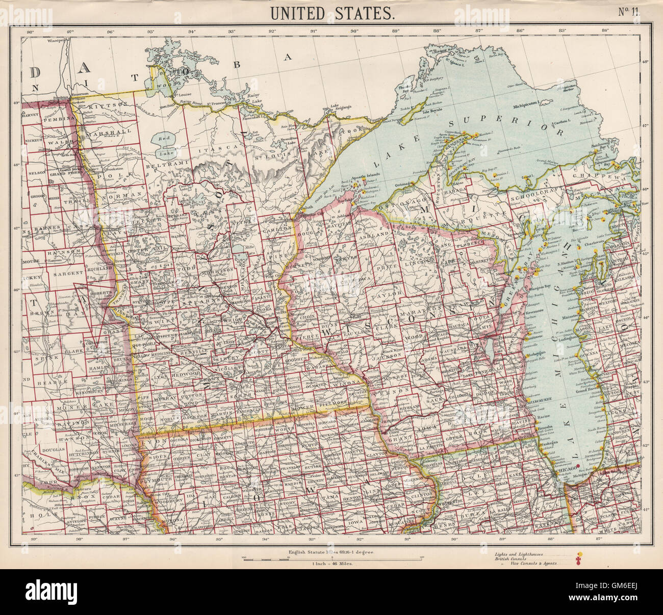 Us 12 Michigan Map.Us Midwest Lake Michigan Superior Wisconsin Minnesota Railroads