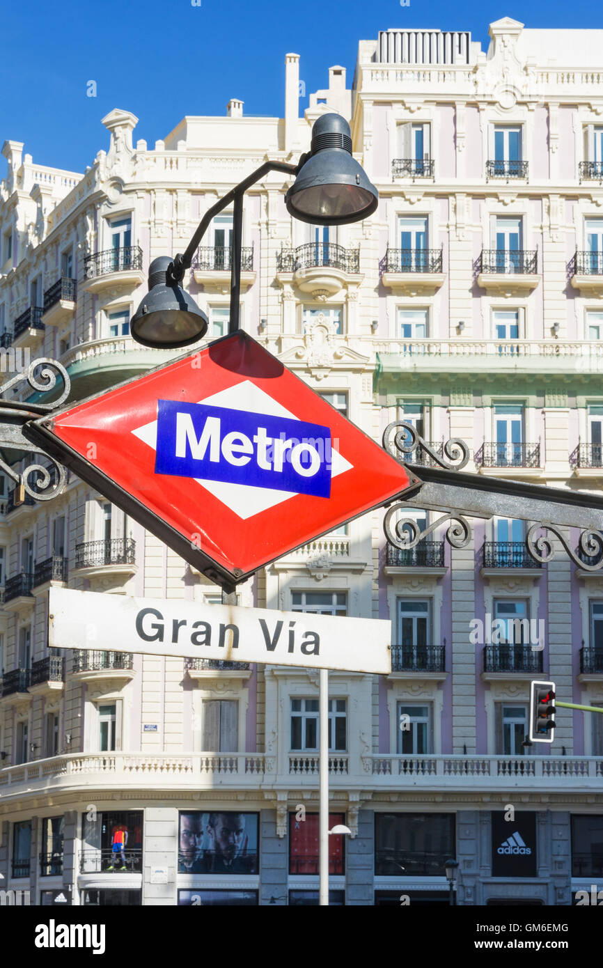 Madrid Metro Gran Via sign on the Gran Via, Madrid, Spain - Stock Image