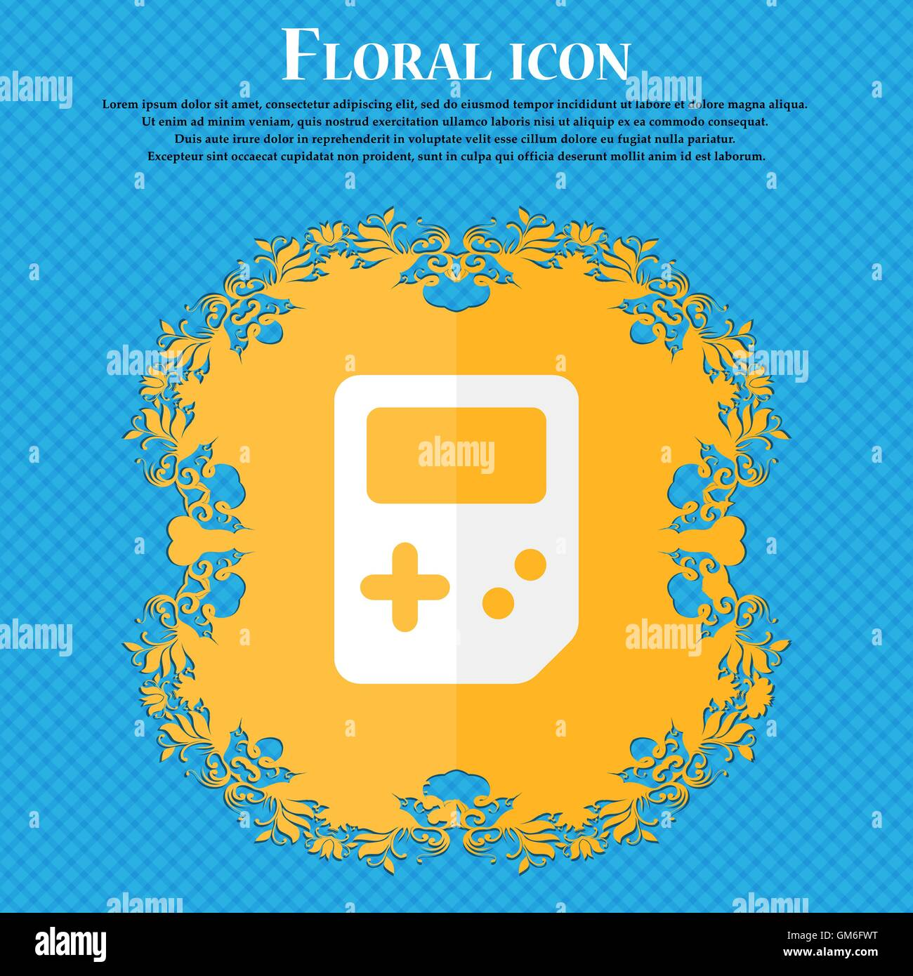 Tetris . Floral flat design on a blue abstract background with place for your text. Vector Stock Vector