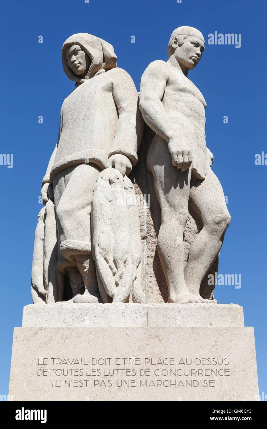 The Four Races statue represents workers from different trades and continents in Geneva, Switzerland Stock Photo