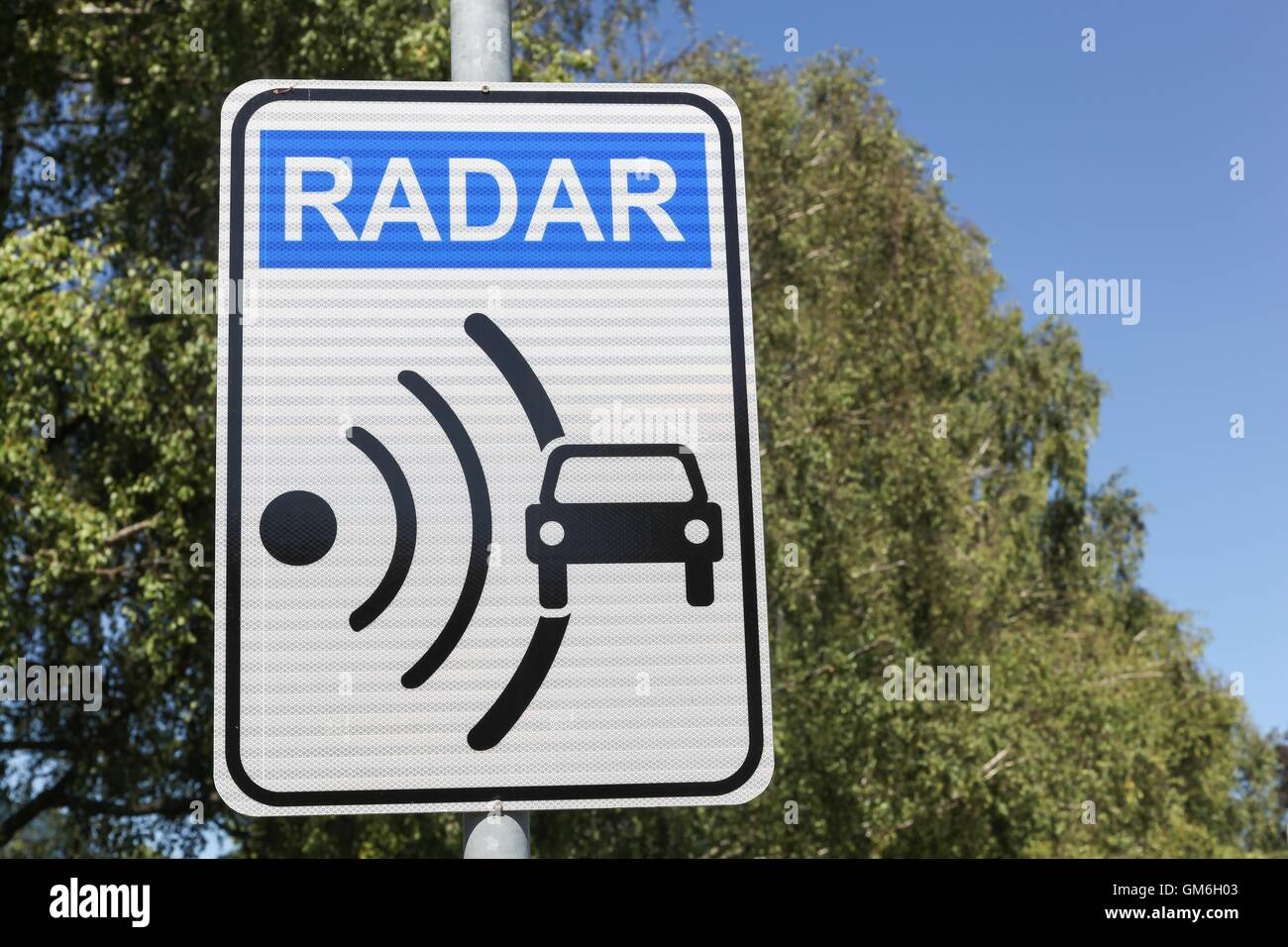 Radar signal and control on a road - Stock Image