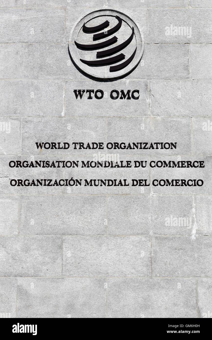 The World Trade Organization sign on a wall - Stock Image